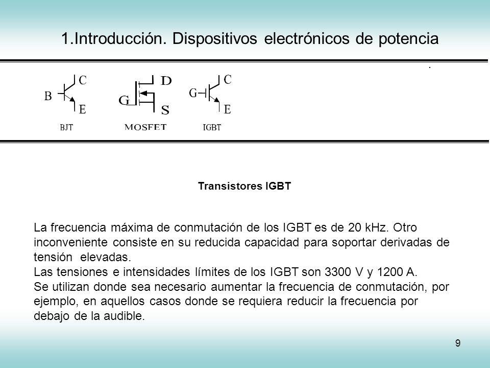 9 IGCT Transistores IGBT La frecuencia máxima de conmutación de los IGBT es de 20 kHz. Otro inconveniente consiste en su reducida capacidad para sopor