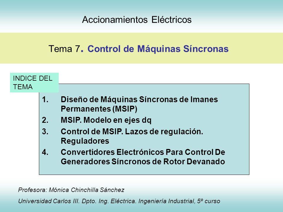 Control de Máquinas Síncronas 7.3 Control de MSIP Regulador externo Lazo interno de corriente directa s s k r r r 1 Regulador PI de corriente Convertidor Motor - + isd usd + f.e.m rotación isd* Término de compensación - + 1 1 s con 1 s k