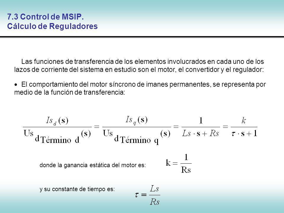 Control de Máquinas Síncronas 7.3 Control de MSIP. Cálculo de Reguladores Las funciones de transferencia de los elementos involucrados en cada uno de
