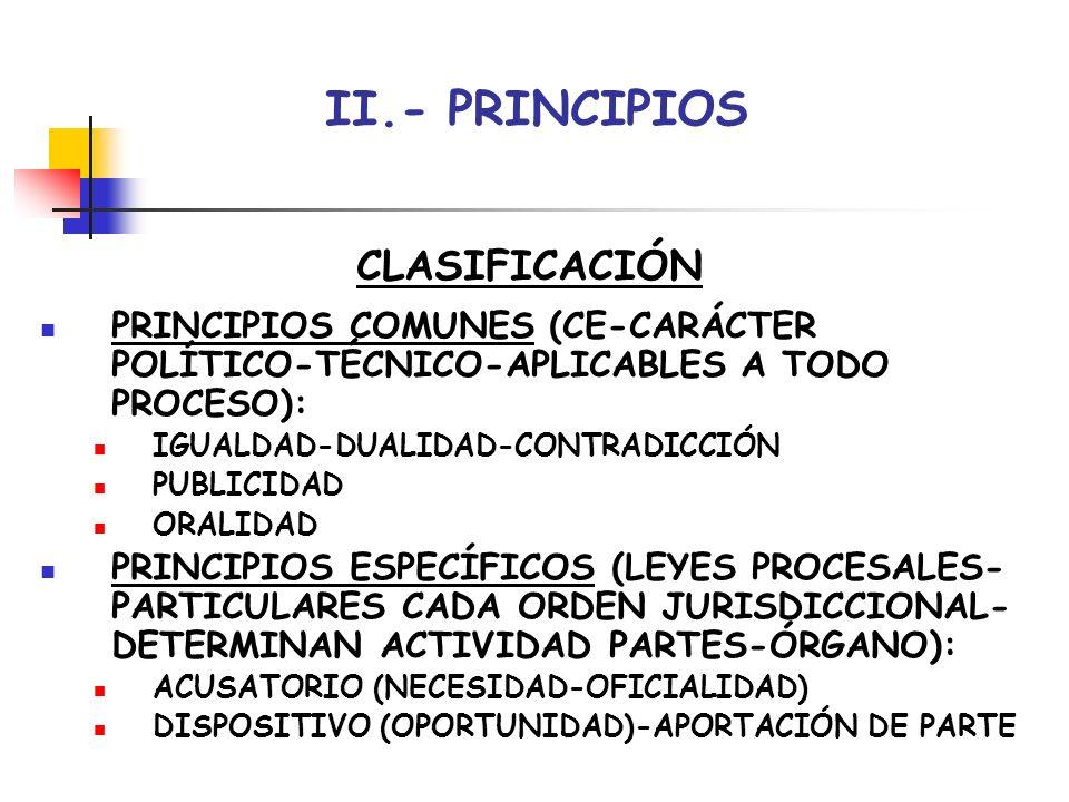 II.- PRINCIPIOS CLASIFICACIÓN PRINCIPIOS COMUNES (CE-CARÁCTER POLÍTICO-TÉCNICO-APLICABLES A TODO PROCESO): IGUALDAD-DUALIDAD-CONTRADICCIÓN PUBLICIDAD