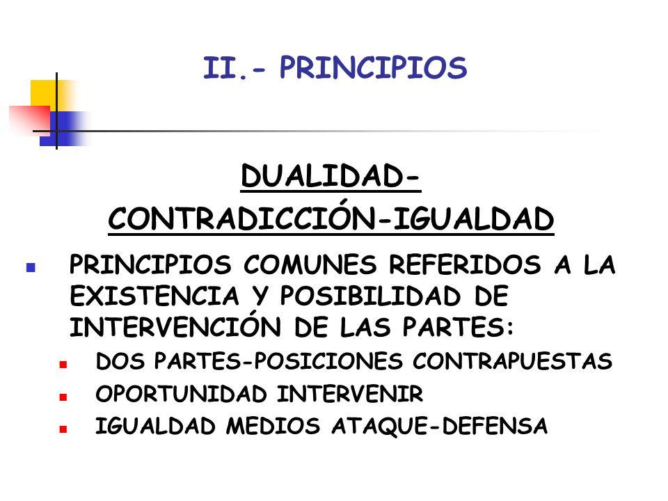 II.- PRINCIPIOS DUALIDAD- CONTRADICCIÓN-IGUALDAD PRINCIPIOS COMUNES REFERIDOS A LA EXISTENCIA Y POSIBILIDAD DE INTERVENCIÓN DE LAS PARTES: DOS PARTES-