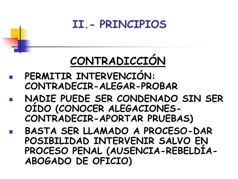 II.- PRINCIPIOS CONTRADICCIÓN PERMITIR INTERVENCIÓN: CONTRADECIR-ALEGAR-PROBAR NADIE PUEDE SER CONDENADO SIN SER OÍDO (CONOCER ALEGACIONES- CONTRADECI