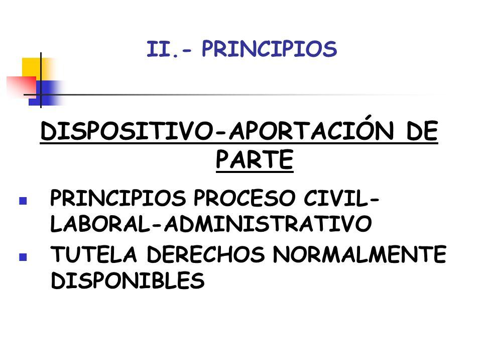 II.- PRINCIPIOS DISPOSITIVO-APORTACIÓN DE PARTE PRINCIPIOS PROCESO CIVIL- LABORAL-ADMINISTRATIVO TUTELA DERECHOS NORMALMENTE DISPONIBLES