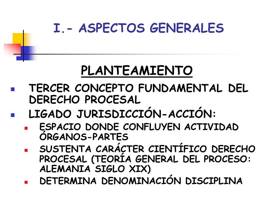 I.- ASPECTOS GENERALES PLANTEAMIENTO TERCER CONCEPTO FUNDAMENTAL DEL DERECHO PROCESAL LIGADO JURISDICCIÓN-ACCIÓN: ESPACIO DONDE CONFLUYEN ACTIVIDAD ÓR
