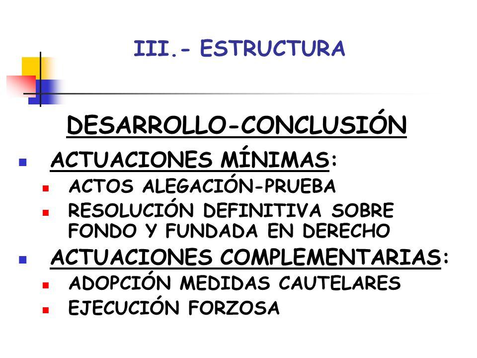 III.- ESTRUCTURA DESARROLLO-CONCLUSIÓN ACTUACIONES MÍNIMAS: ACTOS ALEGACIÓN-PRUEBA RESOLUCIÓN DEFINITIVA SOBRE FONDO Y FUNDADA EN DERECHO ACTUACIONES