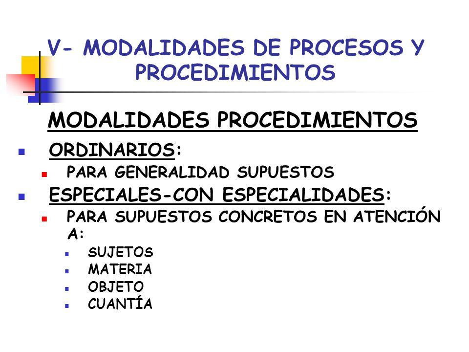 V- MODALIDADES DE PROCESOS Y PROCEDIMIENTOS MODALIDADES PROCEDIMIENTOS ORDINARIOS: PARA GENERALIDAD SUPUESTOS ESPECIALES-CON ESPECIALIDADES: PARA SUPU
