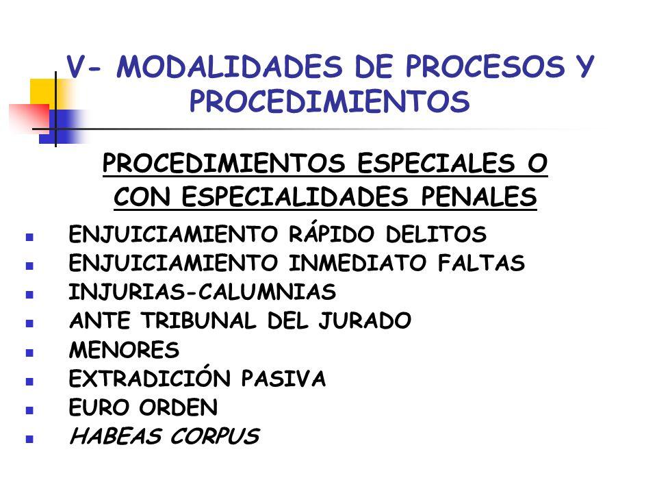 V- MODALIDADES DE PROCESOS Y PROCEDIMIENTOS PROCEDIMIENTOS ESPECIALES O CON ESPECIALIDADES PENALES ENJUICIAMIENTO RÁPIDO DELITOS ENJUICIAMIENTO INMEDI