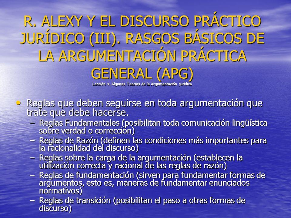 R. ALEXY Y EL DISCURSO PRÁCTICO JURÍDICO (III). RASGOS BÁSICOS DE LA ARGUMENTACIÓN PRÁCTICA GENERAL (APG) Lección 4. Algunas Teorías de la Argumentaci