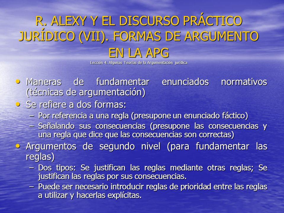 R. ALEXY Y EL DISCURSO PRÁCTICO JURÍDICO (VII). FORMAS DE ARGUMENTO EN LA APG Lección 4. Algunas Teorías de la Argumentación jurídica Maneras de funda