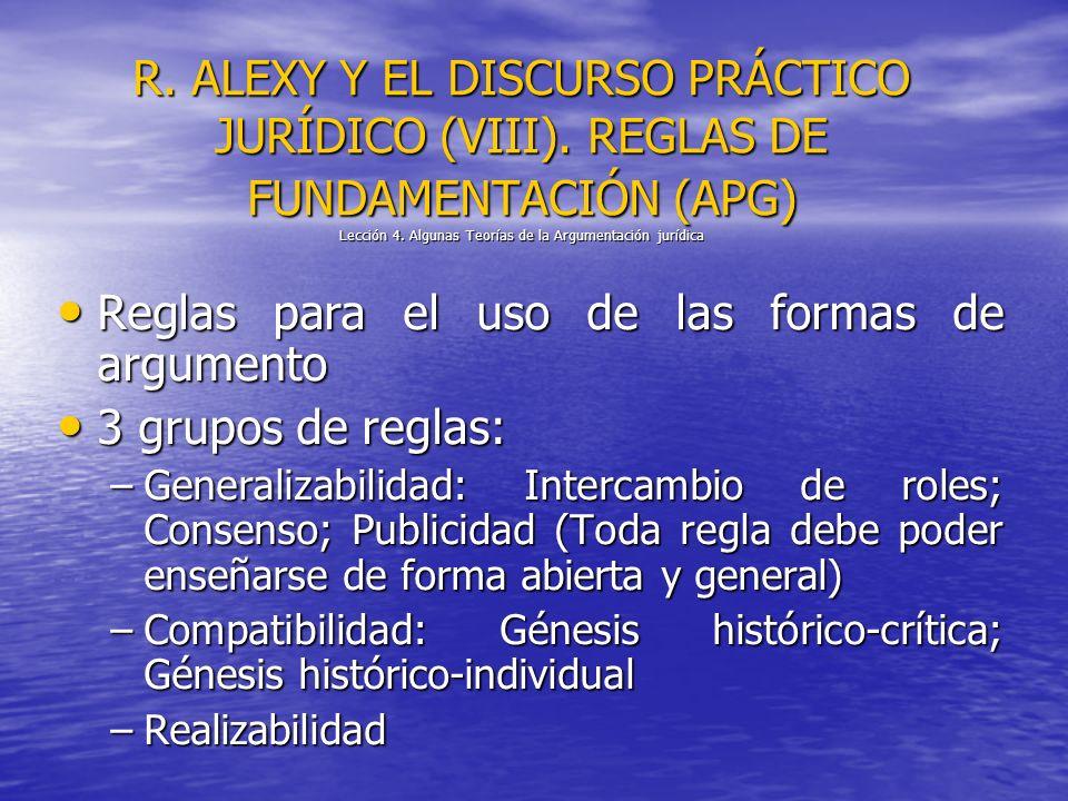 R. ALEXY Y EL DISCURSO PRÁCTICO JURÍDICO (VIII). REGLAS DE FUNDAMENTACIÓN (APG) Lección 4. Algunas Teorías de la Argumentación jurídica Reglas para el