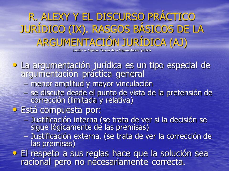 R. ALEXY Y EL DISCURSO PRÁCTICO JURÍDICO (IX). RASGOS BÁSICOS DE LA ARGUMENTACIÓN JURÍDICA (AJ) Lección 4. Algunas Teorías de la Argumentación jurídic