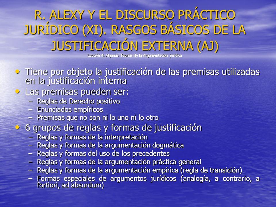 R. ALEXY Y EL DISCURSO PRÁCTICO JURÍDICO (XI). RASGOS BÁSICOS DE LA JUSTIFICACIÓN EXTERNA (AJ) Lección 4. Algunas Teorías de la Argumentación jurídica