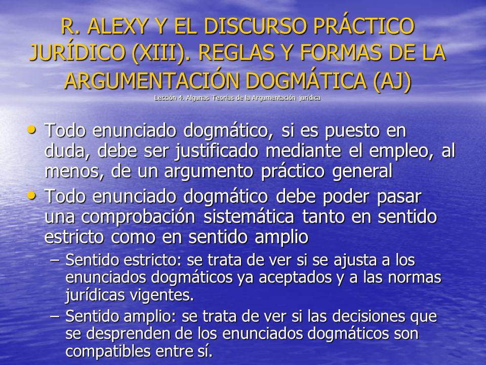 R. ALEXY Y EL DISCURSO PRÁCTICO JURÍDICO (XIII). REGLAS Y FORMAS DE LA ARGUMENTACIÓN DOGMÁTICA (AJ) Lección 4. Algunas Teorías de la Argumentación jur