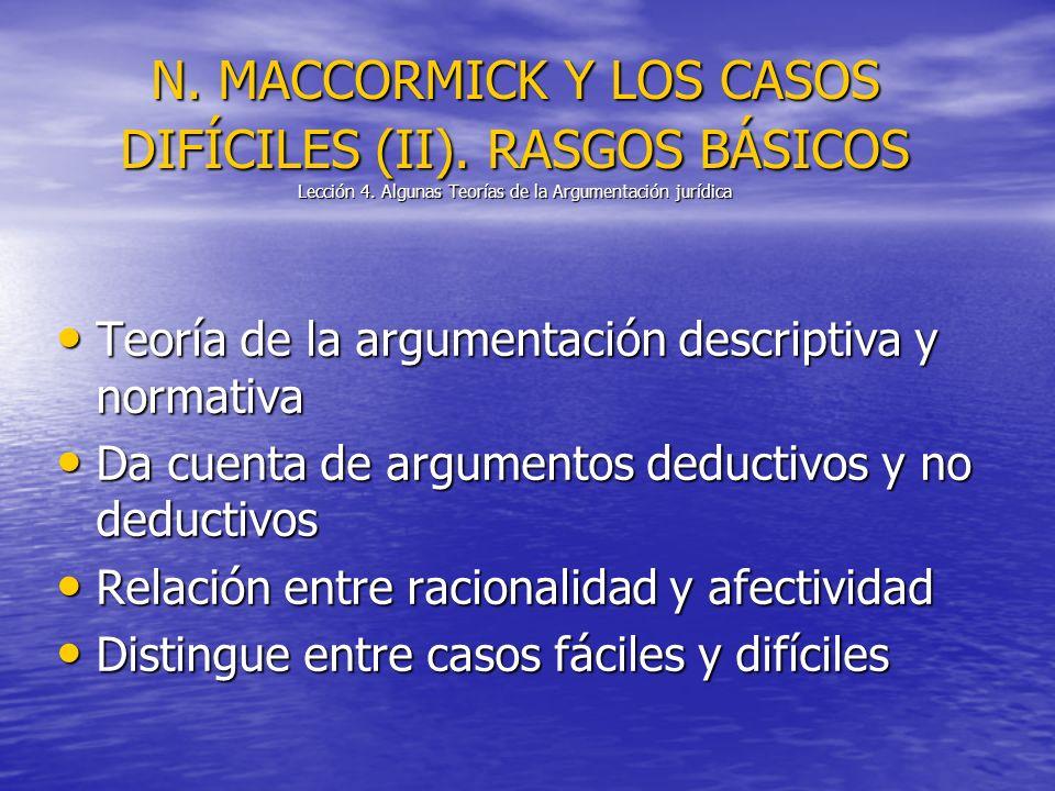 N. MACCORMICK Y LOS CASOS DIFÍCILES (II). RASGOS BÁSICOS Lección 4. Algunas Teorías de la Argumentación jurídica Teoría de la argumentación descriptiv