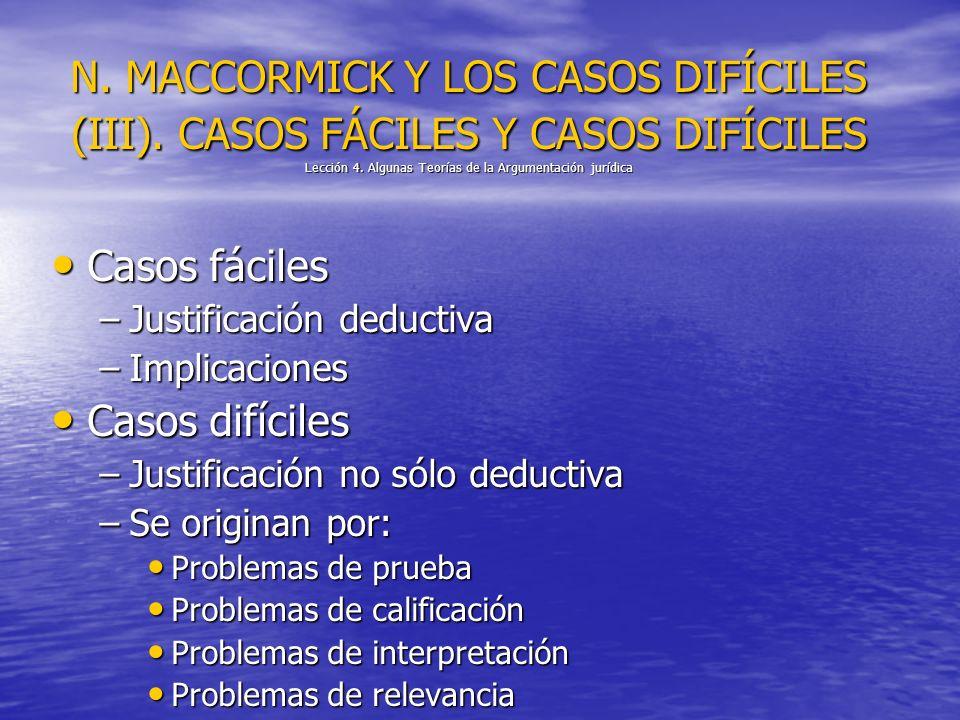 N. MACCORMICK Y LOS CASOS DIFÍCILES (III). CASOS FÁCILES Y CASOS DIFÍCILES Lección 4. Algunas Teorías de la Argumentación jurídica Casos fáciles Casos