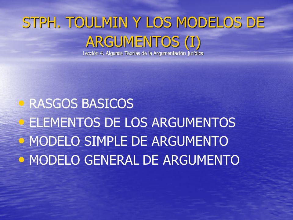 STPH. TOULMIN Y LOS MODELOS DE ARGUMENTOS (I) Lección 4. Algunas Teorías de la Argumentación jurídica RASGOS BASICOS ELEMENTOS DE LOS ARGUMENTOS MODEL