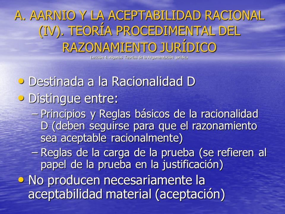 A. AARNIO Y LA ACEPTABILIDAD RACIONAL (IV). TEORÍA PROCEDIMENTAL DEL RAZONAMIENTO JURÍDICO Lección 4. Algunas Teorías de la Argumentación jurídica Des