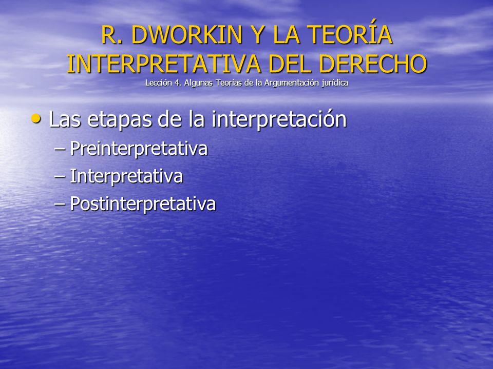 Las etapas de la interpretación Las etapas de la interpretación –Preinterpretativa –Interpretativa –Postinterpretativa R. DWORKIN Y LA TEORÍA INTERPRE