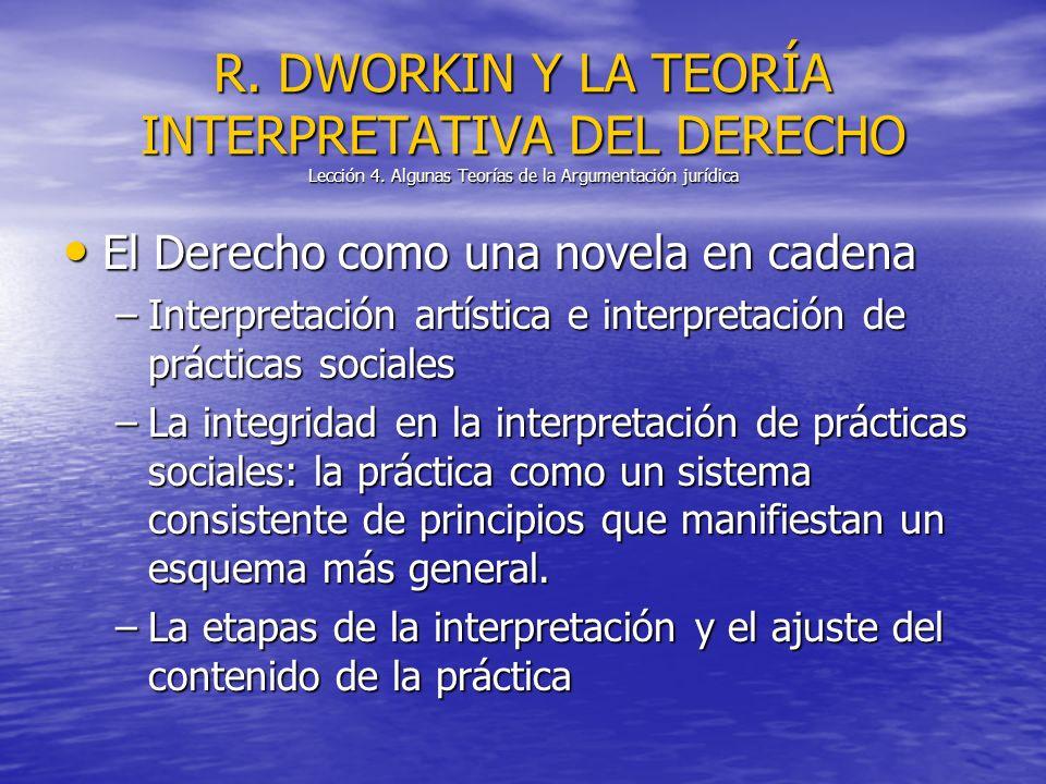 El Derecho como una novela en cadena El Derecho como una novela en cadena –Interpretación artística e interpretación de prácticas sociales –La integri