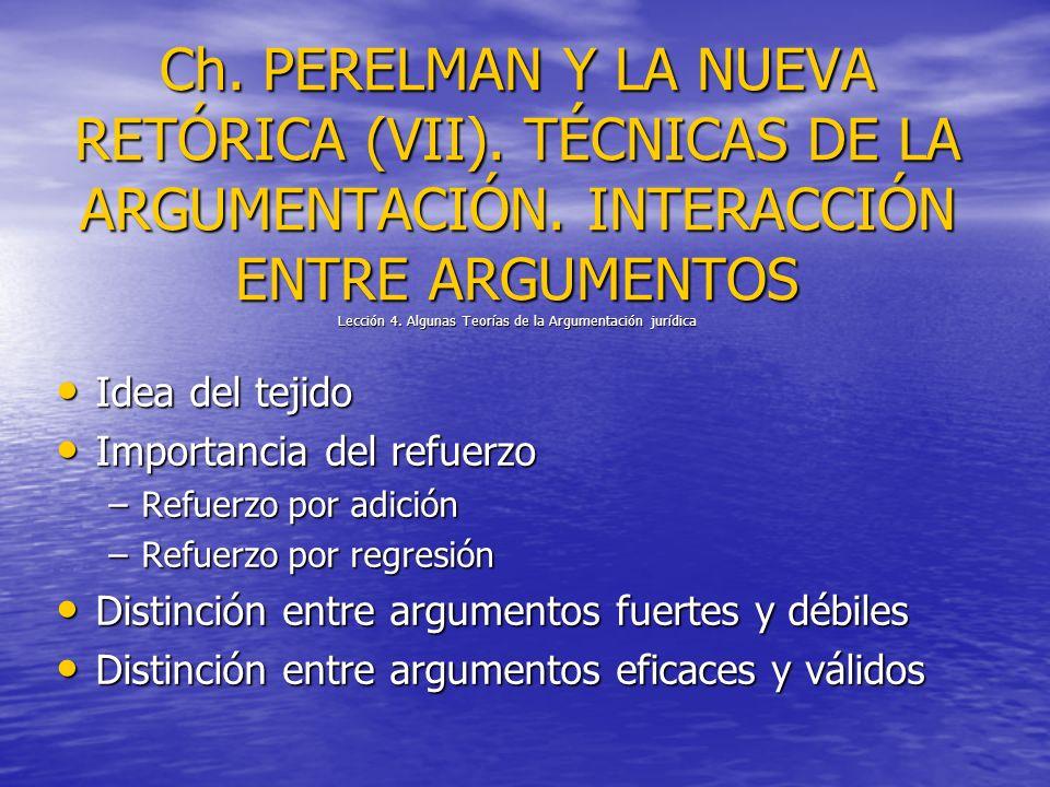 Ch. PERELMAN Y LA NUEVA RETÓRICA (VII). TÉCNICAS DE LA ARGUMENTACIÓN. INTERACCIÓN ENTRE ARGUMENTOS Lección 4. Algunas Teorías de la Argumentación jurí