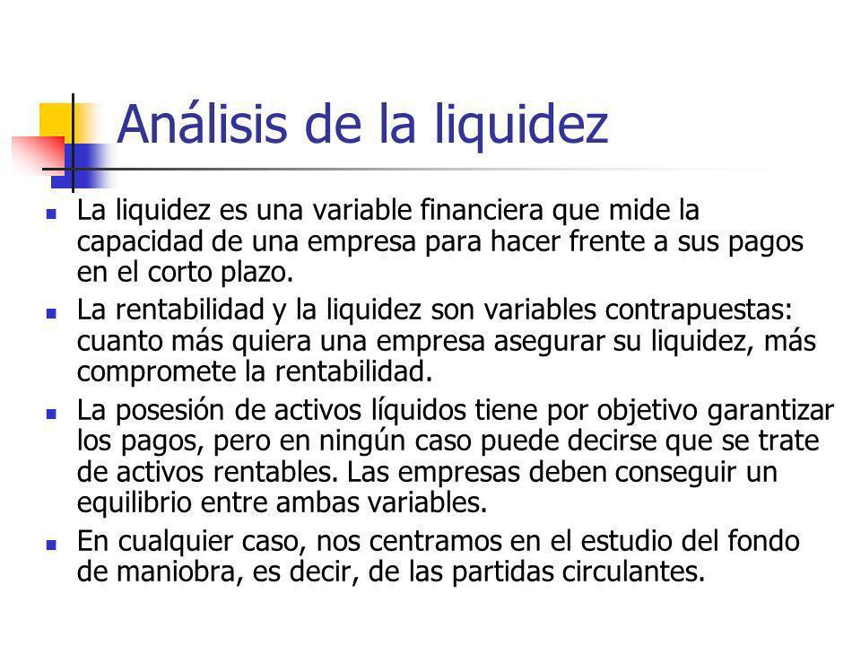 Análisis de la liquidez La liquidez es una variable financiera que mide la capacidad de una empresa para hacer frente a sus pagos en el corto plazo. L