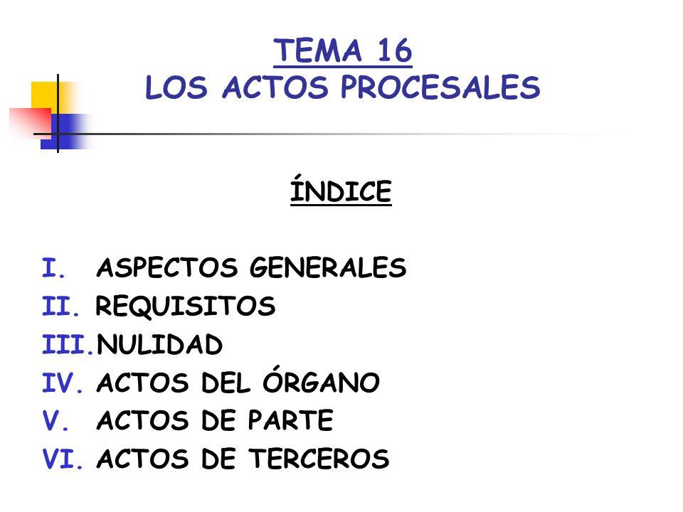I.- ASPECTOS GENERALES PLANTEAMIENTO PROCESO SUCESIÓN ACTOS (VOLUNTARIEDAD) PROCESALES ÓRGANO-PARTES-TERCEROS DETERMINAN DESARROLLO- RESULTADO