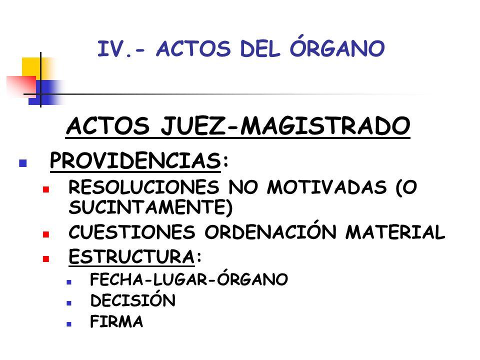 IV.- ACTOS DEL ÓRGANO ACTOS JUEZ-MAGISTRADO AUTOS: RESOLUCIONES MOTIVADAS CUESTIONES MÁS TRASCENDENTES- NO FONDO ASUNTO ESTRUCTURA: FECHA-LUGAR-ÓRGANO HECHOS-FUNDAMENTOS JURÍDICOS DECISIÓN (PARTE DISPOSITIVA)-FIRMA