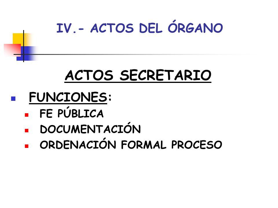 IV.- ACTOS DEL ÓRGANO ACTOS SECRETARIO TIPOS: ACTAS: DOCUMENTACIÓN ACTOS ORALES DILIGENCIAS: CONSTANCIA ORDENACIÓN DACIÓN CUENTA COMUNICACIÓN CERTIFICACIONES-TESTIMONIOS: COPIAS AUTORIZADAS DOCUMENTOS EN AUTOS DECRETOS: EJECUCIÓN-JURISDICCIÓN VOLUNTARIA-CONCILIACIÓN