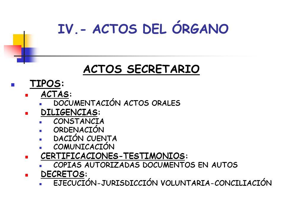 IV.- ACTOS DEL ÓRGANO ACTOS FUNCIONARIOS CUERPOS GENERALES GESTIÓN-TRAMITACIÓN-AUXILIO: PRÁCTICA ACTOS COMUNICACIÓN EJECUCIÓN EMBARGOS- LANZAMIENTOS DOCUMENTACIÓN COMPARECENCIAS EXTENDER NOTAS