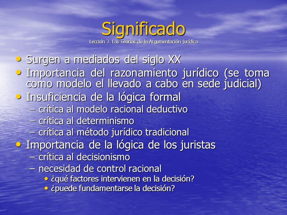 Significado Lección 3. Las Teorías de la Argumentación jurídica Surgen a mediados del siglo XX Surgen a mediados del siglo XX Importancia del razonami