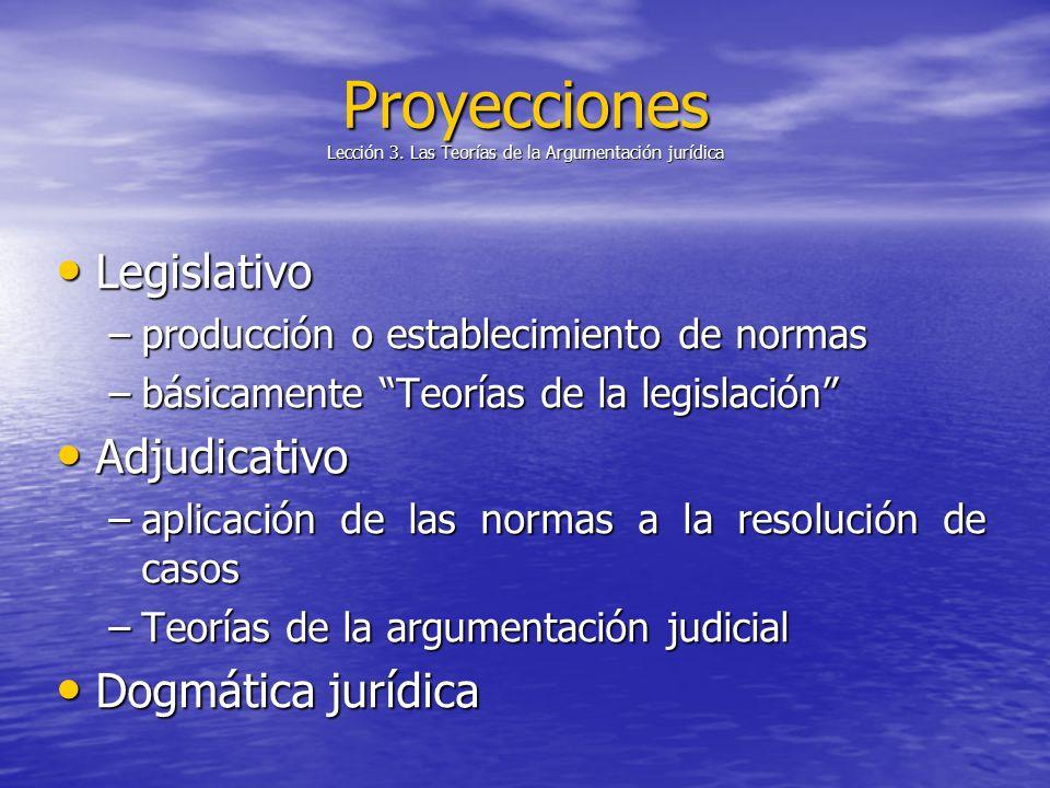 Proyecciones Lección 3. Las Teorías de la Argumentación jurídica Legislativo Legislativo –producción o establecimiento de normas –básicamente Teorías