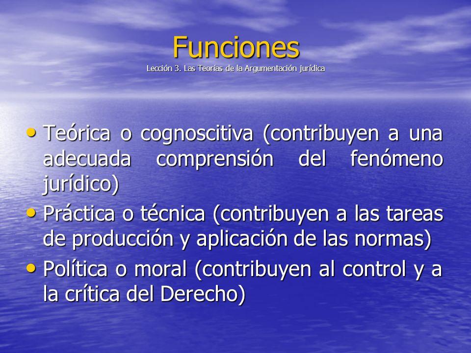 Funciones Lección 3. Las Teorías de la Argumentación jurídica Teórica o cognoscitiva (contribuyen a una adecuada comprensión del fenómeno jurídico) Te