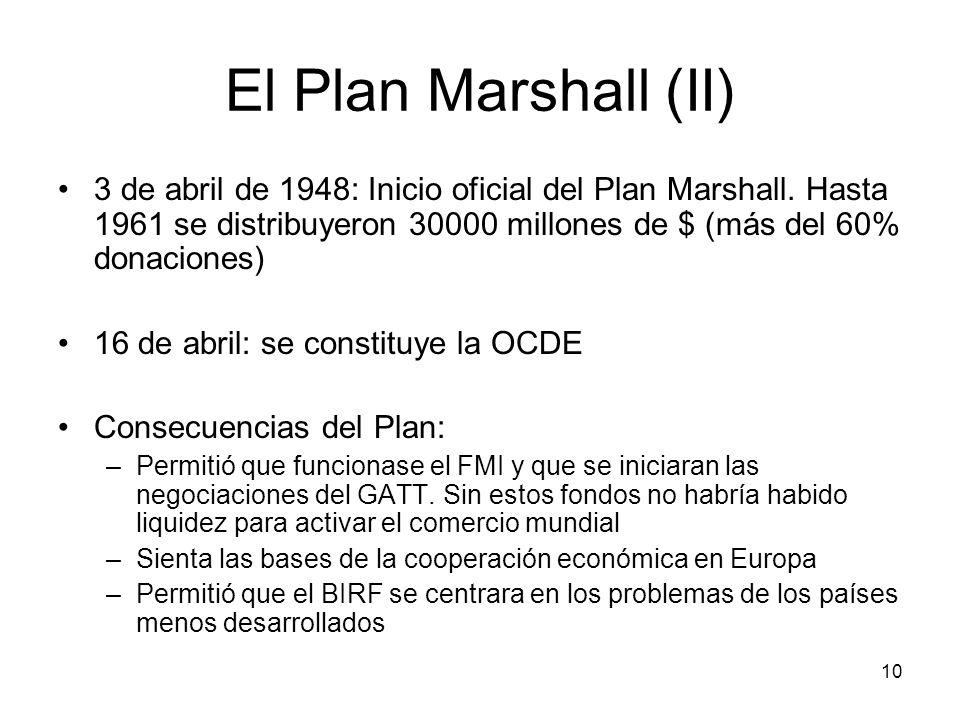 10 El Plan Marshall (II) 3 de abril de 1948: Inicio oficial del Plan Marshall. Hasta 1961 se distribuyeron 30000 millones de $ (más del 60% donaciones