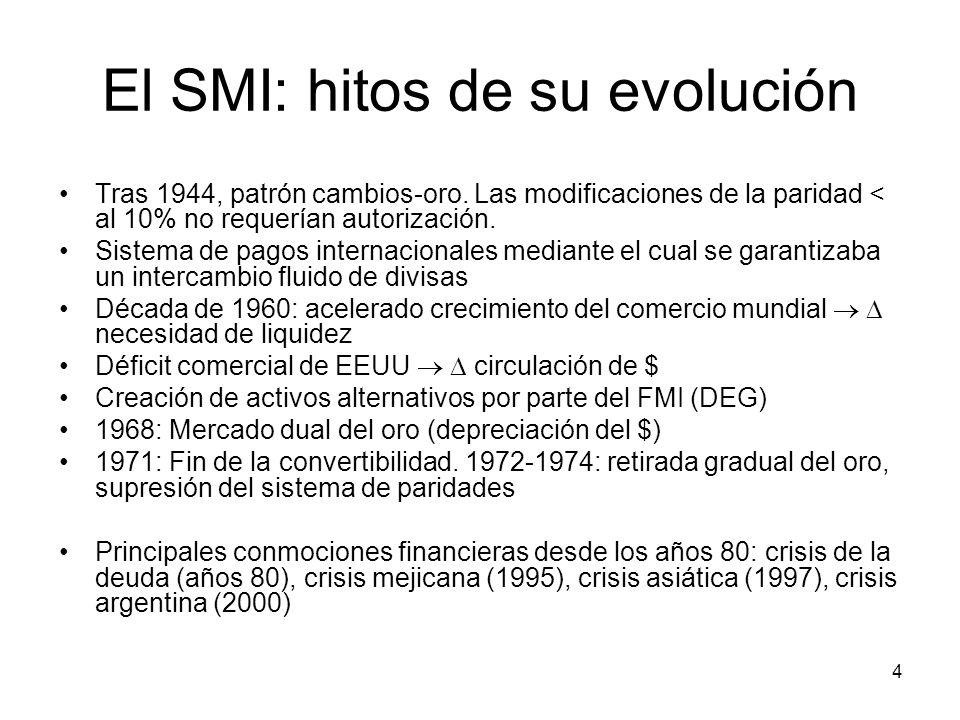 4 El SMI: hitos de su evolución Tras 1944, patrón cambios-oro. Las modificaciones de la paridad < al 10% no requerían autorización. Sistema de pagos i