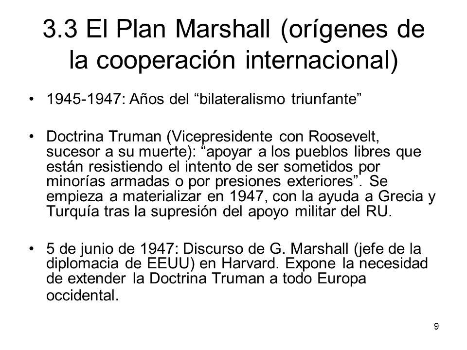 9 3.3 El Plan Marshall (orígenes de la cooperación internacional) 1945-1947: Años del bilateralismo triunfante Doctrina Truman (Vicepresidente con Roo