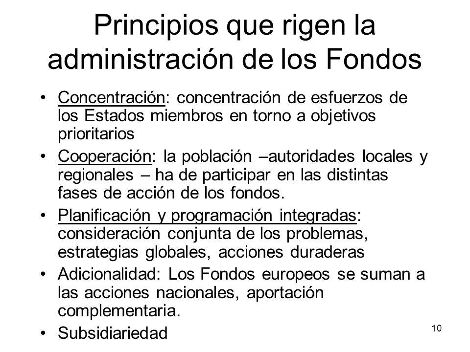 10 Principios que rigen la administración de los Fondos Concentración: concentración de esfuerzos de los Estados miembros en torno a objetivos priorit