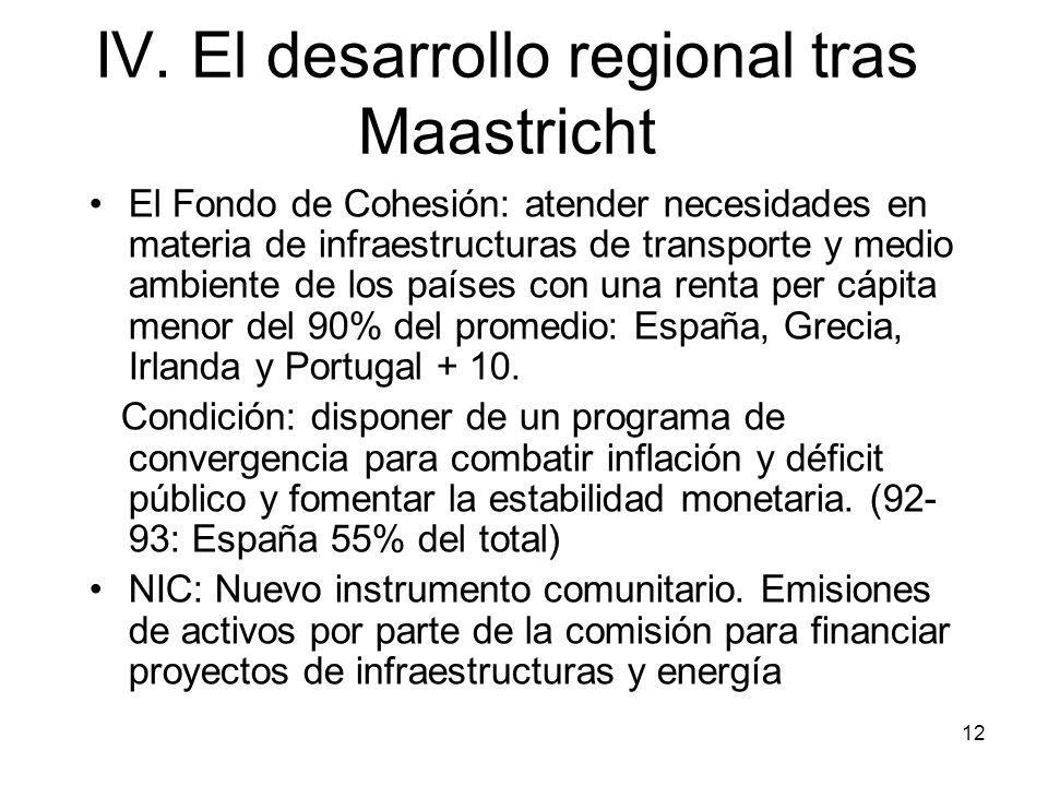 12 IV. El desarrollo regional tras Maastricht El Fondo de Cohesión: atender necesidades en materia de infraestructuras de transporte y medio ambiente