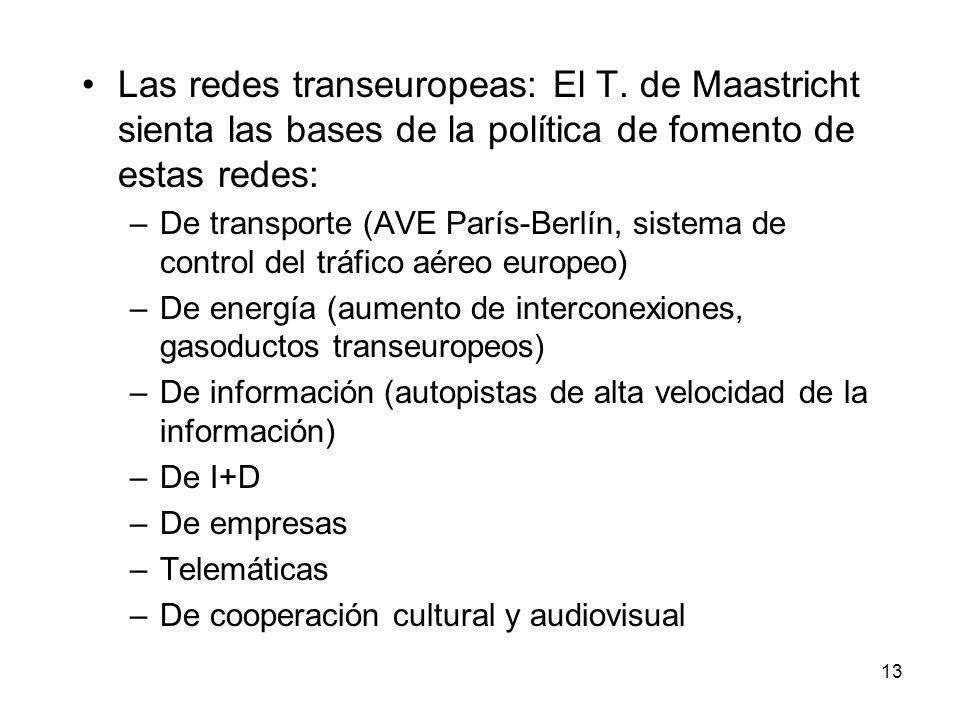 13 Las redes transeuropeas: El T. de Maastricht sienta las bases de la política de fomento de estas redes: –De transporte (AVE París-Berlín, sistema d