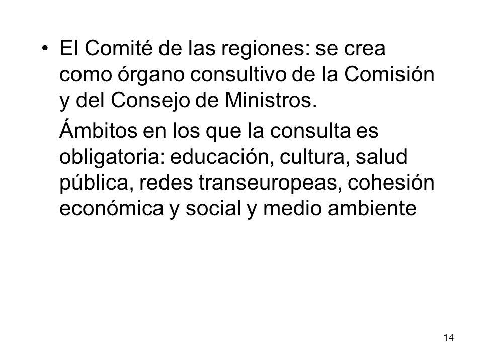 14 El Comité de las regiones: se crea como órgano consultivo de la Comisión y del Consejo de Ministros. Ámbitos en los que la consulta es obligatoria: