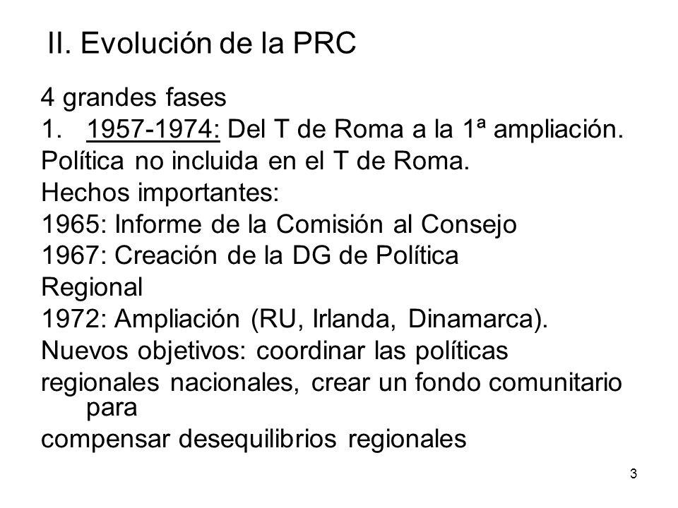 3 II. Evolución de la PRC 4 grandes fases 1.1957-1974: Del T de Roma a la 1ª ampliación. Política no incluida en el T de Roma. Hechos importantes: 196
