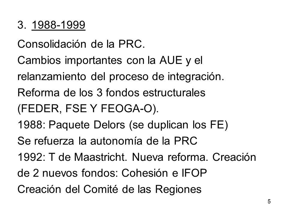 5 3. 1988-1999 Consolidación de la PRC. Cambios importantes con la AUE y el relanzamiento del proceso de integración. Reforma de los 3 fondos estructu