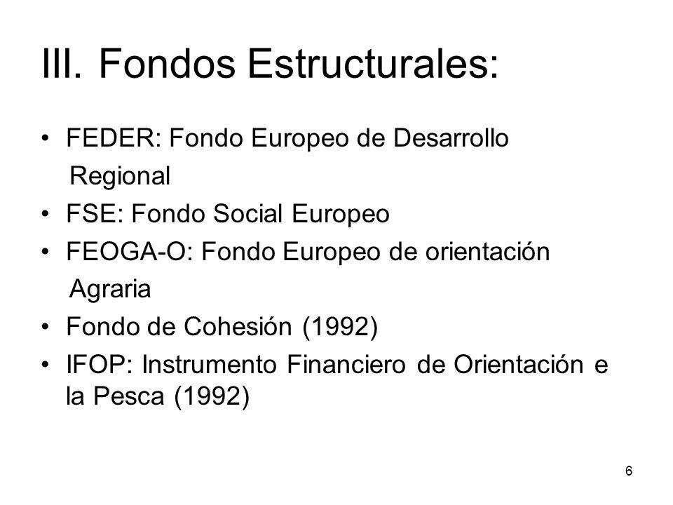 7 Objetivos 1993 de los Fondos: Objetivo 1: Fomentar el desarrollo y el ajuste estructural de las regiones menos desarrolladas ( FEDER, FSE, FEOGA-O) Objetivo 2: Reestructuración de áreas industriales y regiones en declive (FEDER y FSE) Objetivo 3: Lucha contra el paro de larga duración (FSE) Objetivo 4: Inserción profesional de los jóvenes (FSE)