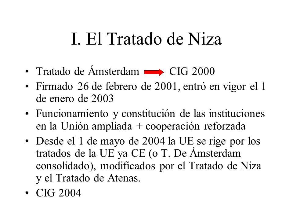 I. El Tratado de Niza Tratado de Ámsterdam CIG 2000 Firmado 26 de febrero de 2001, entró en vigor el 1 de enero de 2003 Funcionamiento y constitución