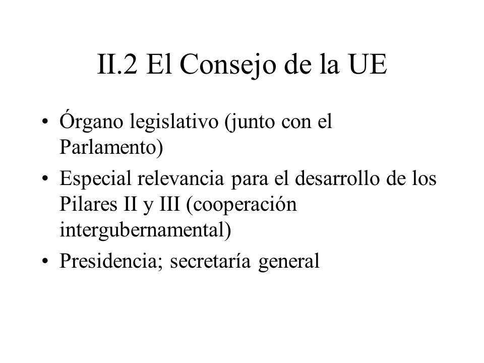 II.2 El Consejo de la UE Órgano legislativo (junto con el Parlamento) Especial relevancia para el desarrollo de los Pilares II y III (cooperación inte