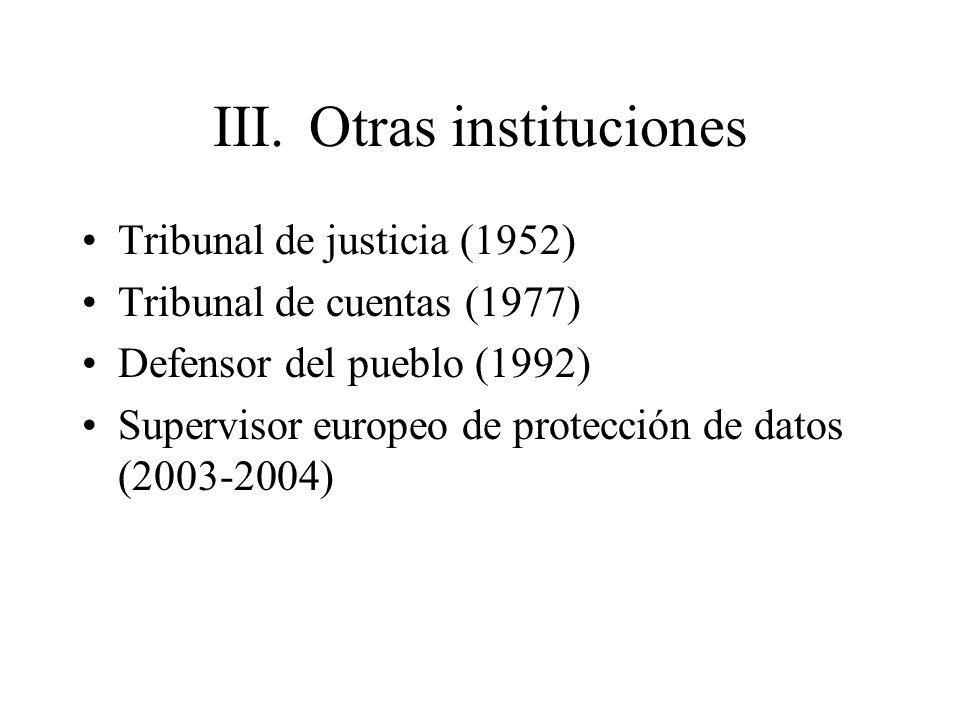 III. Otras instituciones Tribunal de justicia (1952) Tribunal de cuentas (1977) Defensor del pueblo (1992) Supervisor europeo de protección de datos (