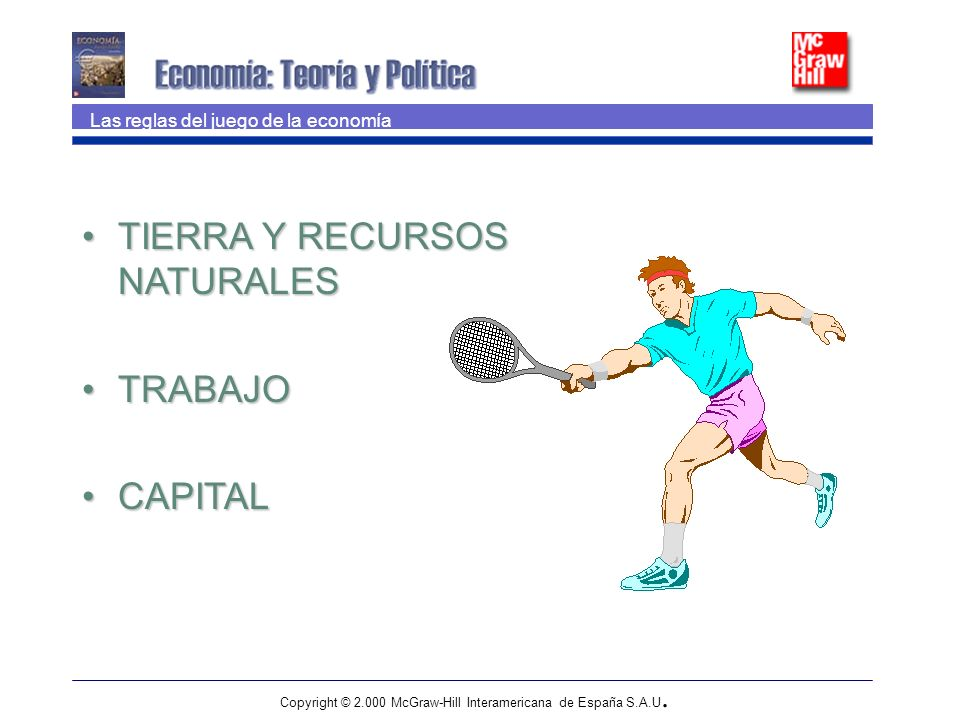 Copyright © 2.000 McGraw-Hill Interamericana de España S.A.U. Las reglas del juego de la economía TIERRA Y RECURSOS NATURALESTIERRA Y RECURSOS NATURAL