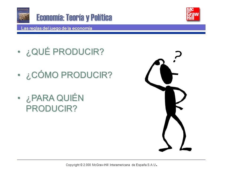 Copyright © 2.000 McGraw-Hill Interamericana de España S.A.U. Las reglas del juego de la economía ¿QUÉ PRODUCIR?¿QUÉ PRODUCIR? ¿CÓMO PRODUCIR?¿CÓMO PR
