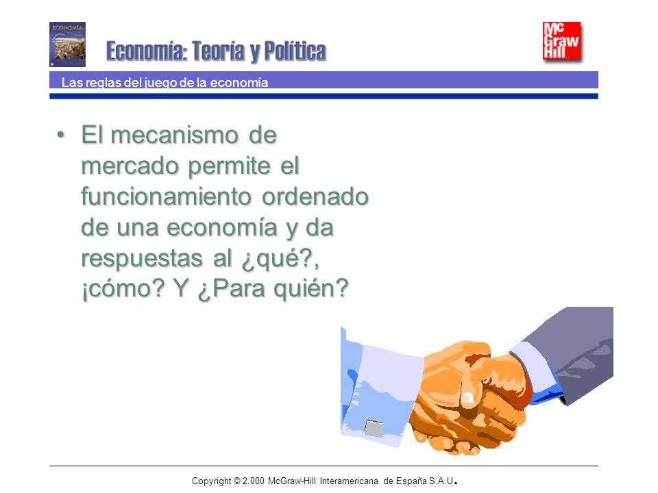 Copyright © 2.000 McGraw-Hill Interamericana de España S.A.U. El mecanismo de mercado permite el funcionamiento ordenado de una economía y da respuest