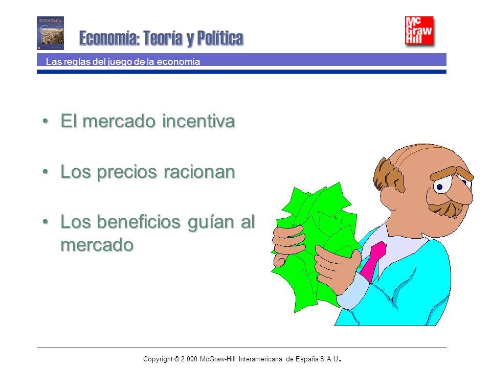 Copyright © 2.000 McGraw-Hill Interamericana de España S.A.U. El mercado incentivaEl mercado incentiva Los precios racionanLos precios racionan Los be