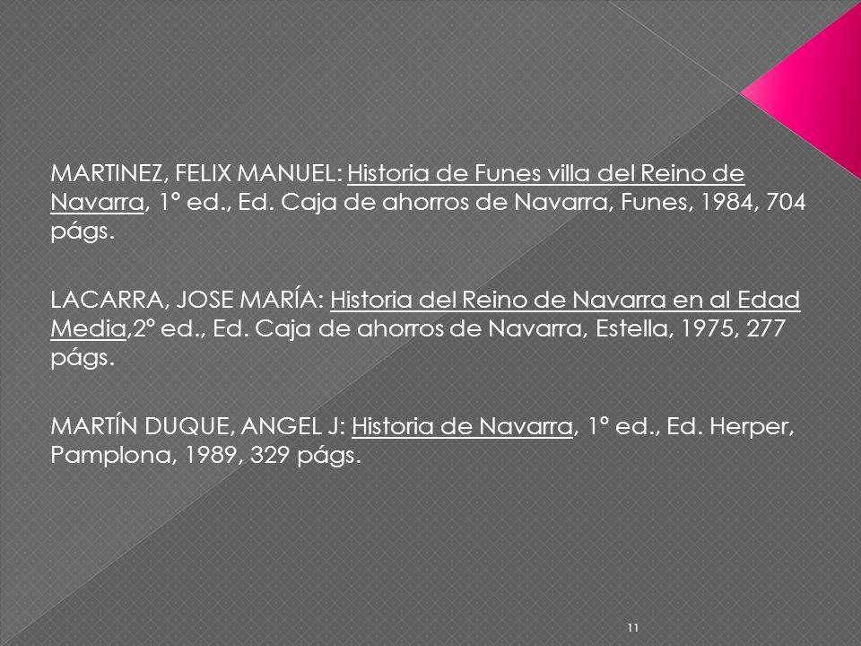 MARTINEZ, FELIX MANUEL: Historia de Funes villa del Reino de Navarra, 1º ed., Ed. Caja de ahorros de Navarra, Funes, 1984, 704 págs. LACARRA, JOSE MAR